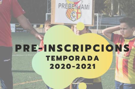 OBERTES LES PRE-INSCRIPCIONS PER LA TEMPORADA 2020-2021